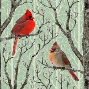 Cardinal Winter Pair