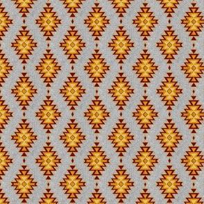 "1"" Aztec Kilim stone - maroon, red, gold, greey"