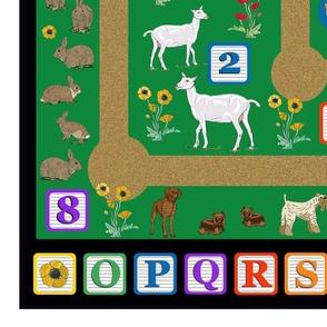 Farm animals and building blocks