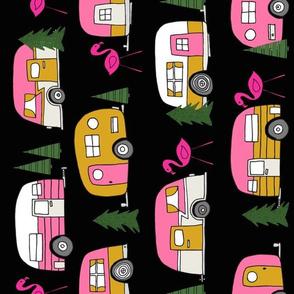 vintage camper // pink and yellow retro camper van retro flamingo trailer design andrea lauren fabric