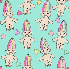 LARGER - 90s nostalgia fabric // cute dolls toys pastel rainbows fabric hand-drawn cute design rainbow pastel