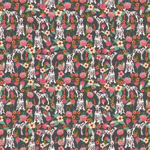 TINY - liver spotted dalmatian florals fabric - charcoal