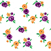 Pansy Patch Orange Purple on white grey splatter