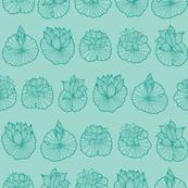 Stylized  Lotus Pad Rows -  Aqua Blue