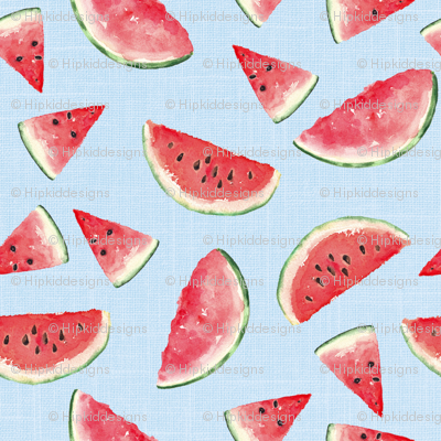 Juicy Watermelon // Tropical Blue Linen