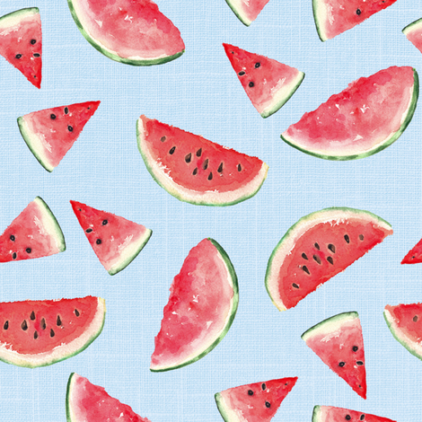 Juicy Watermelon // Tropical Blue Linen fabric by hipkiddesigns on Spoonflower - custom fabric
