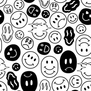 Weird Smiley Faces // Black and White