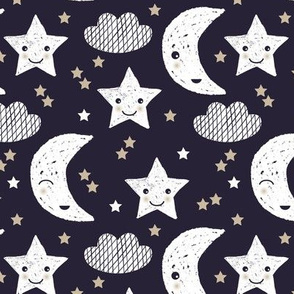 Cute stars good night clouds sweet dreams moon phase kawaii sparkle navy beige gender neutral