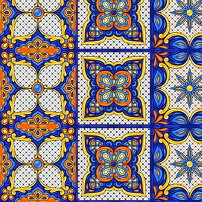 Mexican Tiles Terracotta Blues Green
