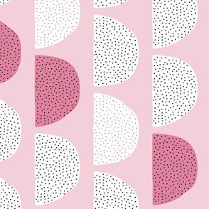 Scandinavian retro moon phases half circles soft pastel moon gender neutral pink cherry