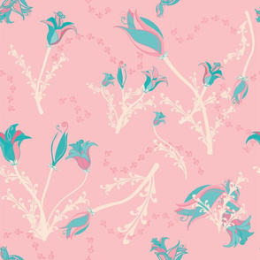 Flowers in teal on pink