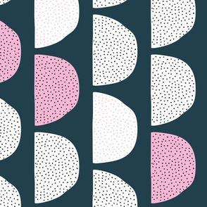 Scandinavian retro moon phases half circles soft pastel moon navy pink