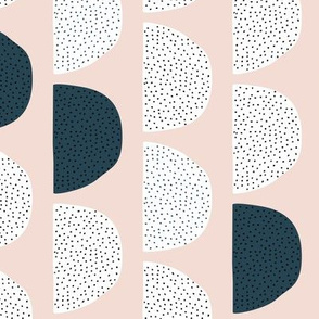 Scandinavian retro moon phases half circles soft pastel moon gender neutral beige sand and navy