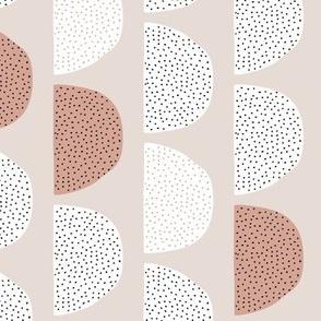 Scandinavian retro moon phases half circles soft pastel moon gender neutral beige sand rust