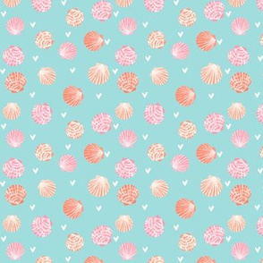 TINY - seashells fabric // girls mermaid sea shell design - peach on blue