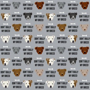 SMALL - staffordshire terrier staffy bully psa dog breed fabric grey