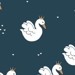 Little royal swan lake love summer night navy gold