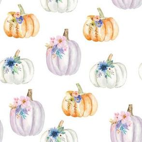 Floral Pumpkins // White
