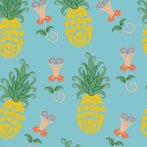 Ditsy Pineapple Floral in blue