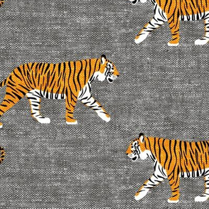 (large scale) walking tigers on grey (woven) C19BS