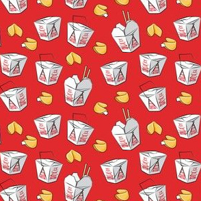 (small scale) take-out boxes - Chinese food takeout with fortune cookies - red - LAD19BS