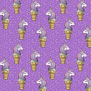 (small scale) Unicorn Cones - Unicone - purple  polka - LAD19BS