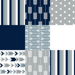 patchwork fabric - navy grey dusty blue