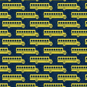 School bus - yellow on navy -  back to school -  LAD19