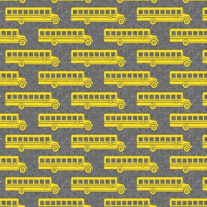 School bus - yellow on grey - back to school -  LAD19
