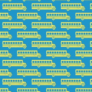 School bus - yellow on blue - back to school -  LAD19