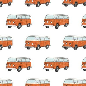 Retro Camper Bus - vintage car - orange - LAD19