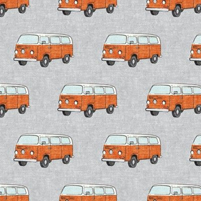 Retro Camper Bus - vintage car - orange on grey - LAD19