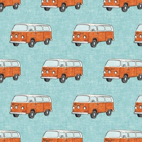 Retro Camper Bus - vintage car - orange on blue - LAD19