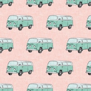 Retro Camper Bus - vintage car - aqua on pink - LAD19