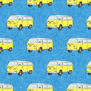 Retro Camper Bus - vintage car - yellow on blue - LAD19