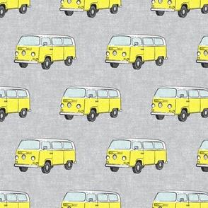 Retro Camper Bus - vintage car - yellow on grey - LAD19