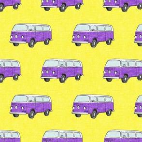 Retro Camper Bus - vintage car - purple on yellow - LAD19