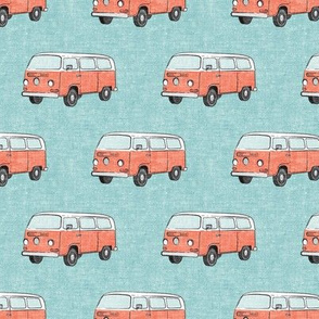 Retro Camper Bus - vintage car - peach on blue - LAD19