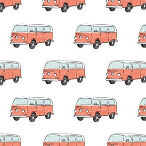 Retro Camper Bus - vintage car - peach - LAD19