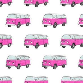 Retro Camper Bus - vintage car - pink on white - LAD19
