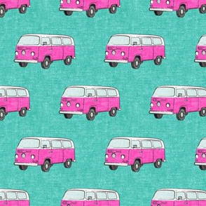 Retro Camper Bus - vintage car - pink on teal - LAD19