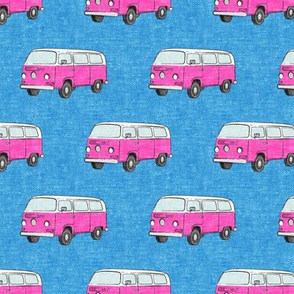 Retro Camper Bus - vintage car - pink on blue - LAD19