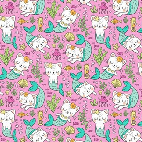 Purrmaids Cats Mermaids  Sea Doodle Mint on Magenta Pink 50% Smaller