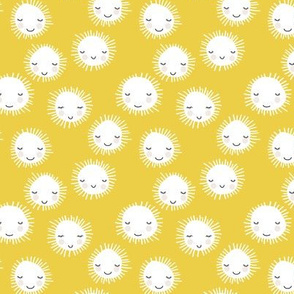 Sweet sunny kawaii sky smiling sleepy sun in summer yellow white SMALL
