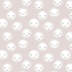 Sweet sunny kawaii sky smiling sleepy sun in summer beige white SMALL