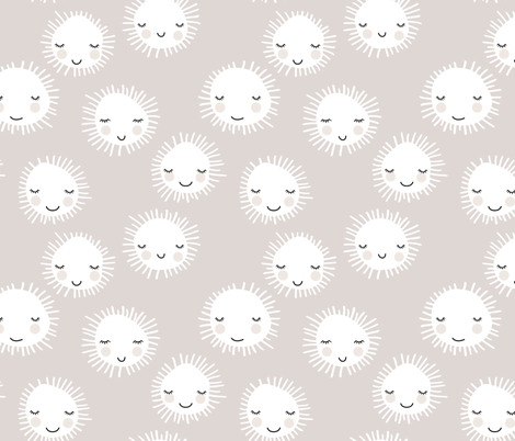 Sweet sunny kawaii sky smiling sleepy sun in summer beige white fabric by littlesmilemakers on Spoonflower - custom fabric