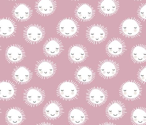 Sweet sunny kawaii sky smiling sleepy sun in summer pink white fabric by littlesmilemakers on Spoonflower - custom fabric
