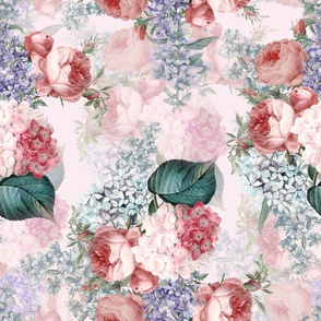 "14"" Pierre Joseph Redouté - Victorian Moody Flowers Blush Roses, Lilacs and Hydrangea Bouquet - Redoute fabric, double layer on blush pink"