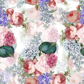 """10"""" Pierre Joseph Redouté - Victorian Moody Flowers Blush Roses, Lilacs and Hydrangea Bouquet - Redoute fabric, double layer on white"""