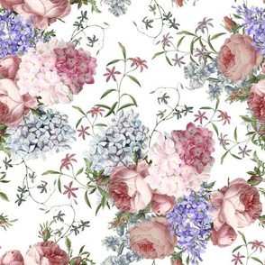 "10"" Pierre Joseph Redouté - Victorian Moody Flowers Blush Roses, Lilacs and Hydrangea Bouquet - Redoute fabric, double layer on white"